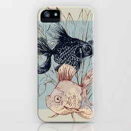 Telescope and golden fish aquarium iPhone Case
