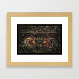 Chickens on wood Framed Art Print