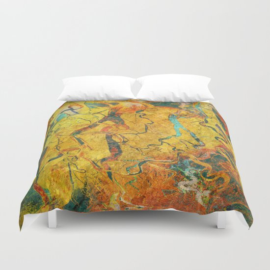 Cave Drawing Duvet Cover