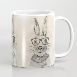 Cute funny watercolor bunny with glasses and scarf hand paint Coffee Mug