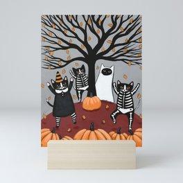 Cats Celebration of Halloween Mini Art Print