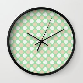 Beige & Off White Large Polka Dots Pattern on Pastel Green Matches Neo Mint 2020 Color of the Year Wall Clock