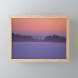 Foggy Winter Evening With Beautiful Sunset Colors In The Sky #decor #buyart #society6 Framed Mini Art Print
