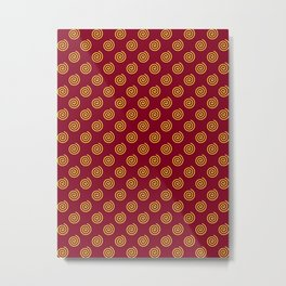 Electric Yellow on Burgundy Red Spirals Metal Print
