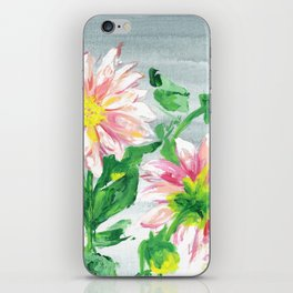 Dahlias for a cloudy day i iPhone Skin
