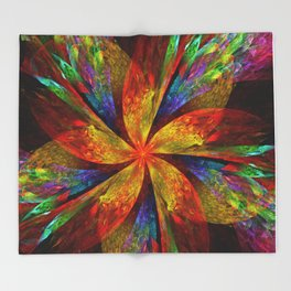 Painterly multicolor flower Throw Blanket