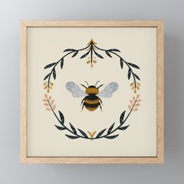 Ode to the Bumblebee (in cream) Framed Mini Art Print