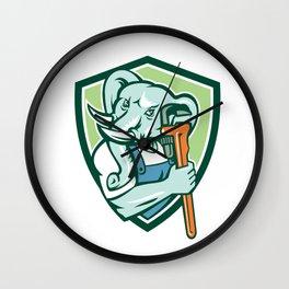 Elephant Plumber Mascot Monkey Wrench Shield Retro Wall Clock