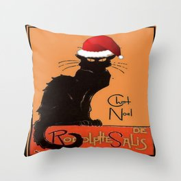 Le Chat Noel Throw Pillow