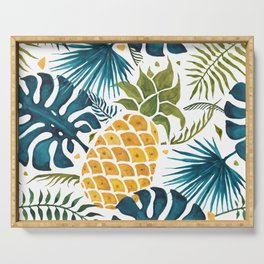 Golden pineapple on palm leaves foliage Serving Tray
