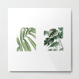 Greenery Squares Watercolor Painting Metal Print