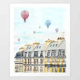 Architecture Paris and air balloon watercolor Art Print