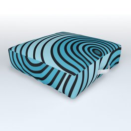 Sea-Blue Circle Pattern Outdoor Floor Cushion