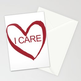 I CARE (WHT TEXT) Stationery Cards