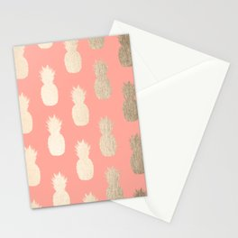 Gold Pineapples on Coral Pink Stationery Cards
