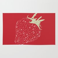 strawberry Area & Throw Rugs featuring Strawberry by Julia Kisselmann