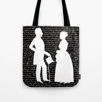 pride and prejudice Tote Bags featuring Pride and Prejudice design by Evie Seo