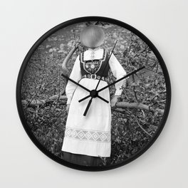 Miss Onion by the bushes. 1915. Wall Clock