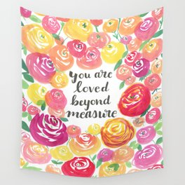 You Are Loved Beyond Measure Pink and Yellow Rose Field Wall Tapestry