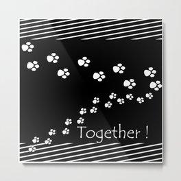 Together ! Black and white illustration . Metal Print