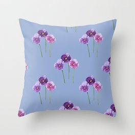 Three Little Violets - Serenity Blue Throw Pillow