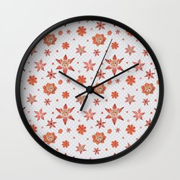 Cats on  red-orange flowers Wall Clock