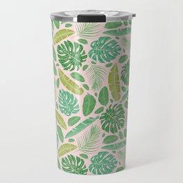 Tropical leaves mix on light background Travel Mug