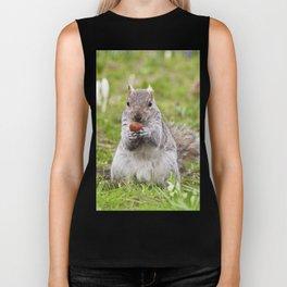 Gray squirrel eating a hazelnut Biker Tank