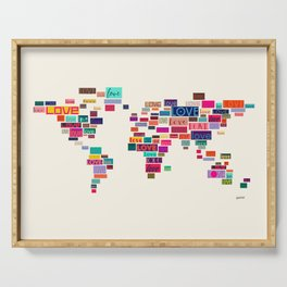 All We Need Is Love World Map Art Serving Tray