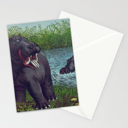 Vintage Illustration of Hippopotamuses (1874) Stationery Cards