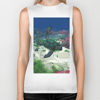 sea turtle Biker Tanks featuring Sea Turtle by Simone Gatterwe