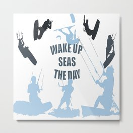Wake Up Seas The Day Kiteboarder In Teal Shades Metal Print