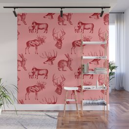 Woodland Critters in Red and Pink Wall Mural