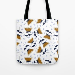 Gold and White Flowers with Blue Tote Bag
