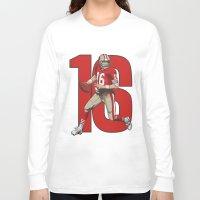 nfl Long Sleeve T-shirts featuring NFL Legends: Joe montana 49ers by Akyanyme