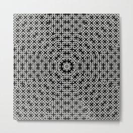 Trendy geometric weave patterns in grey tones and black Metal Print
