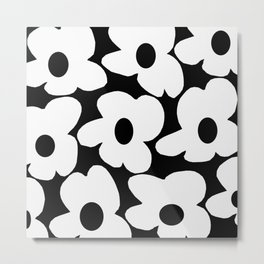 White Retro Flowers Black Background #decor #society6 #buyart Metal Print