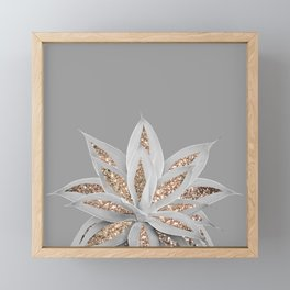 Gray Agave with Gold Glitter #1 #shiny #tropical #decor #art #society6 Framed Mini Art Print