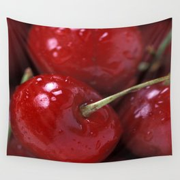 Big Red Cherries  Wall Tapestry