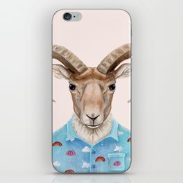 U is for a Urial with an Umbrella and Unicorn Patterned Shirt | Art Print iPhone Skin