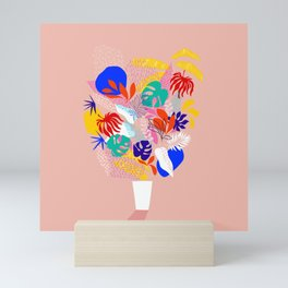 Keep Growing - Tropical plant on peach Mini Art Print