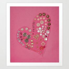 Vintage with a Smile - Pink Vintage Buttons Art Print