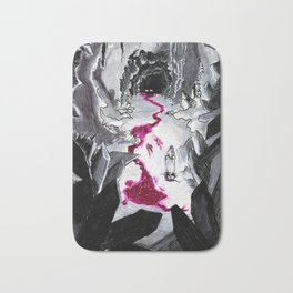 Blood trails and monsters in a crystal cave Bath Mat