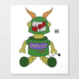 Funny Sarcastic Novelty Unplug Tshirt Design Unplug robot Canvas Print