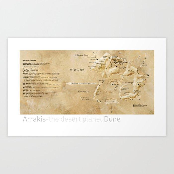 Arrakis-the desert planet Dune map Art Print by tinsanders on peninsula map, plain map, the hobbit map, strait map, badlands map, channel map, star wars map, wall street map, moon map, brazil map, ringworld map, steppe map, mulholland drive map, lagoon map, paper towns map, estuary map, the maze runner map, cliff map, ark map, star trek map,