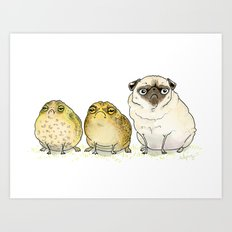 Glum Chums - Pug and Toad are Friends Art Print