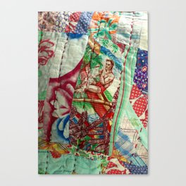 Vintage Hawaiian Quilt Scrap Canvas Print