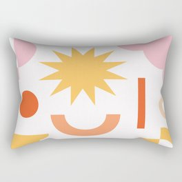 Abstract Yellow Star and Pink Clouds Rectangular Pillow
