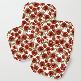 Poppy Pattern On White Background Coaster