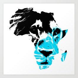 Lion Heart Africa Aqua Blue Art Print